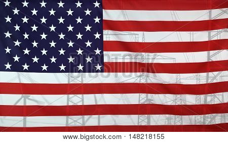 Concept Energy Distribution Flag of USA merged with high voltage power poles