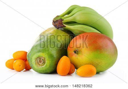 Exotic fruits: mango, bananas, papaya and kumquats isolated on white
