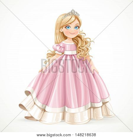 Little blond princess girl in pink ball dress isolated on a white background