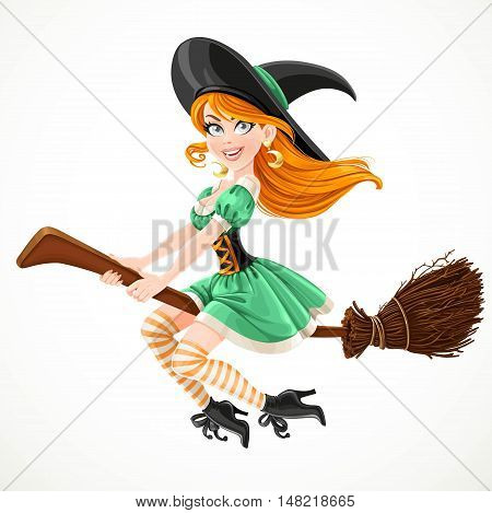 Cute redheaded witch in green dress flying on a broom isolated on a white background