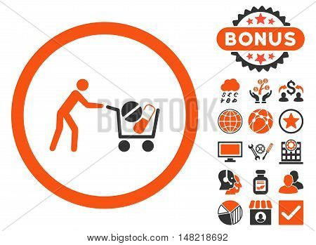 Drugs Shopping Cart icon with bonus symbols. Vector illustration style is flat iconic bicolor symbols, orange and gray colors, white background.