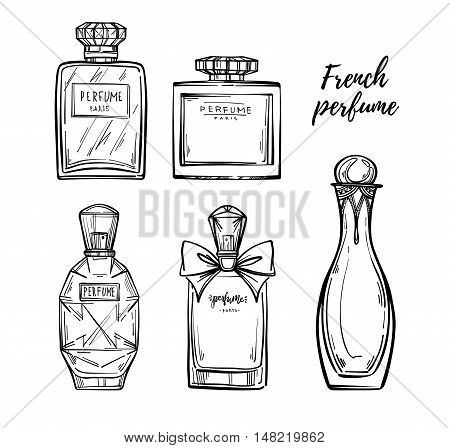 Hand Drawn Vector Illustrations - French Perfume. Outline Design Elements. Fashion Sketch. Glass Bot