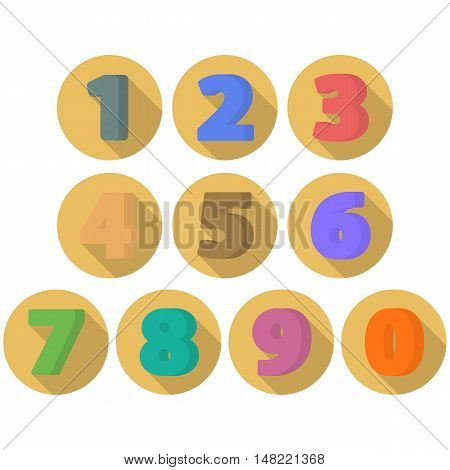 Set of flat numbers. Colorful flat icon