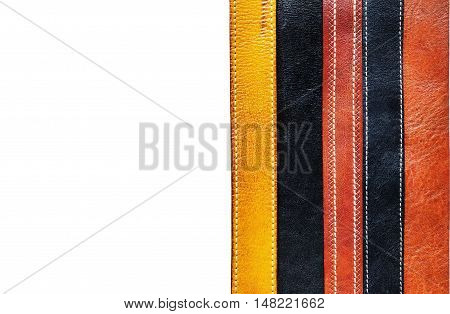 Black and brown leather belt on a white background.