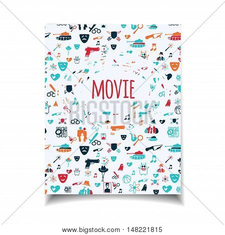 Cinema vector template set. Movie genre theme: action romance comedy drama detective horror fantasy. Colored illustration