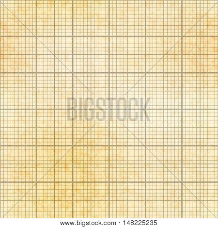 One millimeter grid on old yellow paper with texture seamless pattern