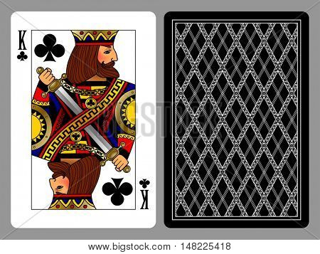 King of Clubs playing card and the backside background. Colorful original design. Vector illustration