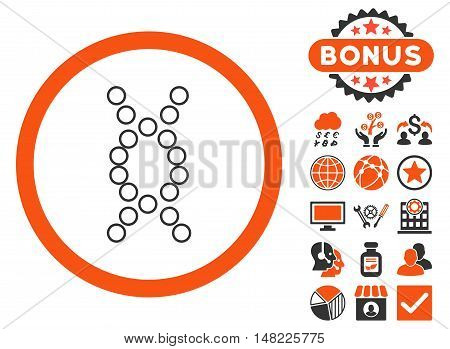 Genome icon with bonus design elements. Vector illustration style is flat iconic bicolor symbols, orange and gray colors, white background.