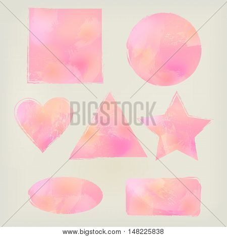 Watercolor shapes splashes triangle, circle, heart, ellipse, rectangle, square, star blue. Watercolor design elements triangle, circle, heart ellipse rectangle square star Watercolor design