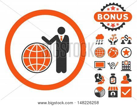 Global Manager icon with bonus pictures. Vector illustration style is flat iconic bicolor symbols, orange and gray colors, white background.