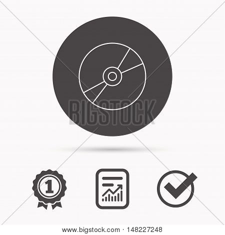 CD or DVD icon. Multimedia sign. Report document, winner award and tick. Round circle button with icon. Vector
