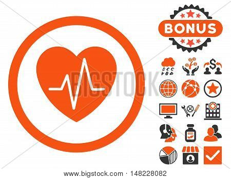 Heart Ekg icon with bonus elements. Vector illustration style is flat iconic bicolor symbols, orange and gray colors, white background.