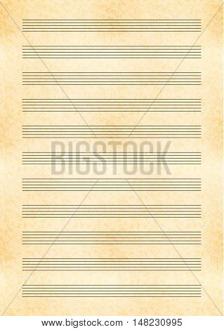 Vertical a4 size yellow old paper with music note stave