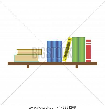 Books on bookshelf. vector illustration. Collection of paper books. Wooden bookshelf