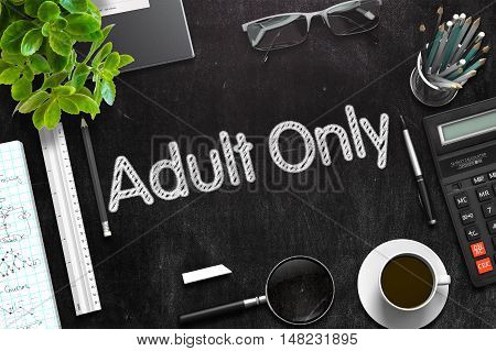 Black Chalkboard with Adult Only Concept. 3d Rendering. Toned Illustration.