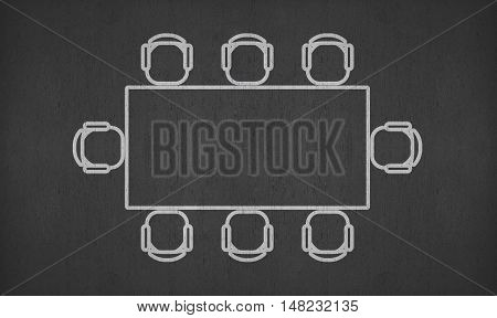 blank rectangle meeting table on blackboard for your ideas