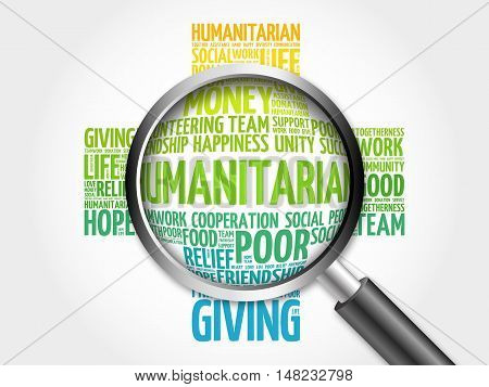 Humanitarian Word Cloud With Magnifying Glass, Cross Concept 3D Illustration