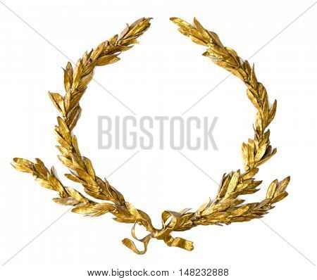Gold laurel wreath isolated on white