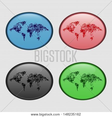 Abstract oval badge with a picture map of the world. Vector.