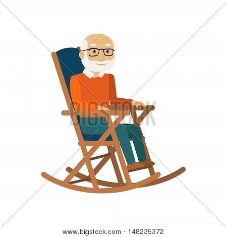 Old man sitting in rocking chair. Vector illustration.