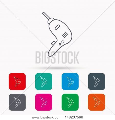 Drill tool icon. Electric jack-hammer sign. Linear icons in squares on white background. Flat web symbols. Vector