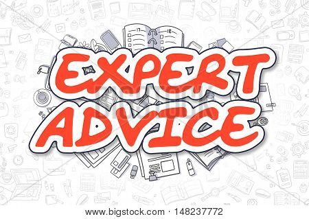 Expert Advice - Sketch Business Illustration. Red Hand Drawn Word Expert Advice Surrounded by Stationery. Doodle Design Elements.