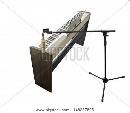 Synthesizer and microphone isolated on white background