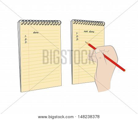 Entry pads done or pending affairs. vector illustration.
