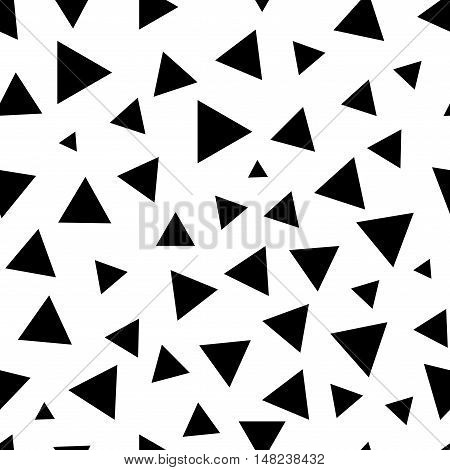 Triangle chaotic seamless pattern. Fashion graphic background design. Modern stylish abstract monochrome texture. Template for prints textiles wrapping wallpaper website Stock VECTOR illustration