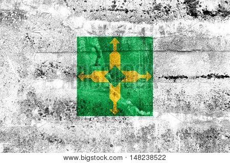 Flag Of Brasilia, Distrito Federal, Brazil, Painted On Dirty Wall