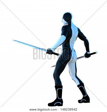 a young strong man in a white and black super suit. He stands and holds two iron sword in his two hands. Back view. 3D rendering, 3D illustration