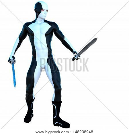 a young strong man in a white and black super suit. He stands and holds two iron sword in his two hands. Front view. 3D rendering, 3D illustration