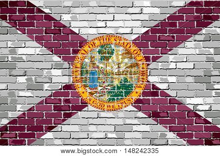 Flag of Florida on a brick wall - Illustration,  The flag of the state of Florida on brick textured background,  Florida Flag in brick style