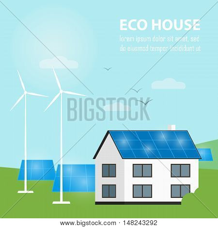 Eco house vector illustration. House with blue solar panels on the roof. Wind generator turbine and solar panels near house. The production of energy from the sun and wind. Countryside landscape