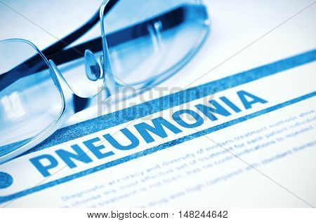 Pneumonia - Medical Concept with Blurred Text and Specs on Blue Background. Selective Focus. 3D Rendering.