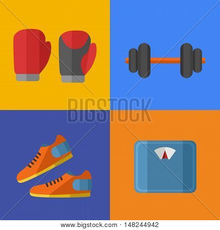 Vector illustration of gym sports equipment icons set. Boxing gloves, sports shoes, dumbbells and weigher on color background. Healthy lifestyle. Athletic equipment. Different tools for sport.