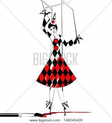 white, black and white fantasy of hand puppet Pierrette