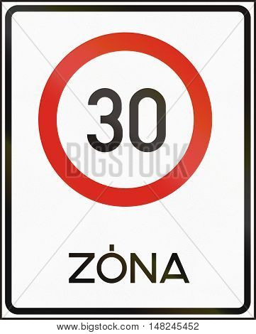 Road Sign Used In Hungary - Maximum Speed Limit Zone