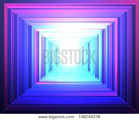 Vector bright luminescent background with squares and lines.