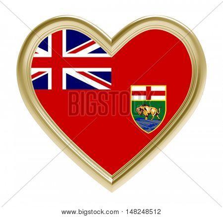 Manitoba flag in golden heart isolated on white background. 3D illustration.