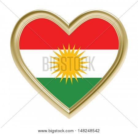 Kurdistan flag in golden heart isolated on white background. 3D illustration.