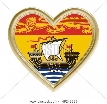 New Brunswick flag in golden heart isolated on white background. 3D illustration.
