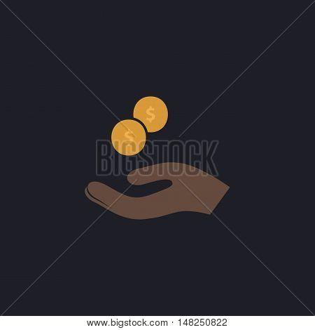 beggar Color vector icon on dark background