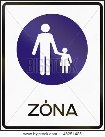 Road Sign Used In Hungary - Pedestrian Zone