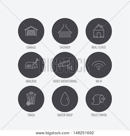 Wi-fi, video monitoring and real estate icons. Toilet paper, shower and water drop linear signs. Trash, garage flat line icons. Linear icons in circle buttons. Flat web symbols. Vector