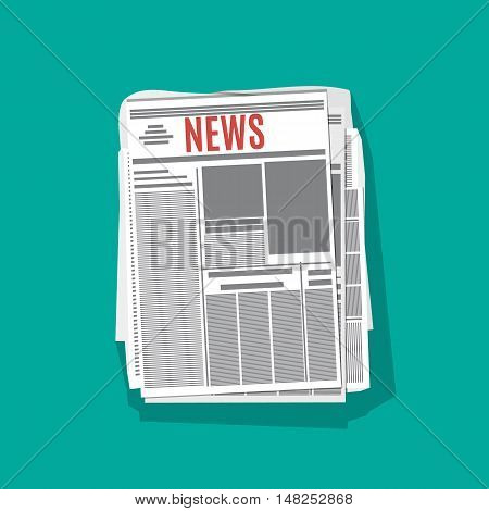 newspaper stack icon in flat design on green background with long shadow. world news magazine, paper pile, journal heap, vector illustration