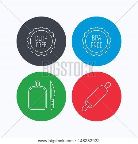 Rolling pin, separating board and knife icons. BPA, DEHP free linear signs. Linear icons on colored buttons. Flat web symbols. Vector