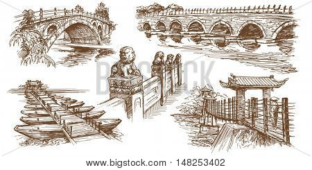 Chinese traditional bridges. Hand drawn set.