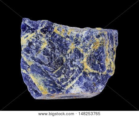 Raw natural mineral Sodalite on black background