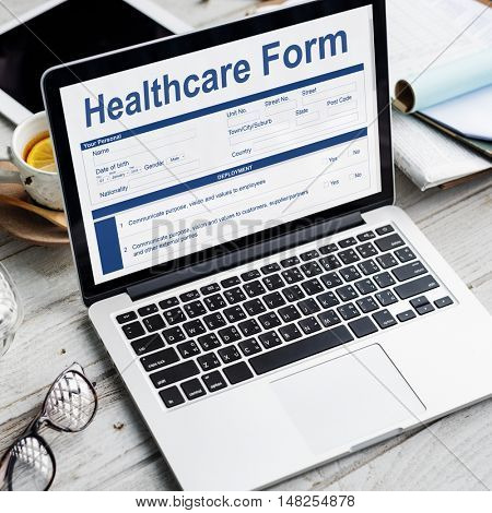 Heathcare Form Insurance Application Concept